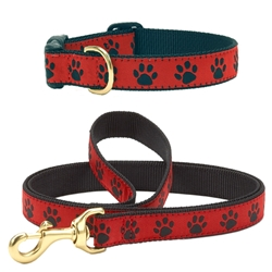 Up Country Red & Black Paw Leash & Collar (No Holes) Bundle
