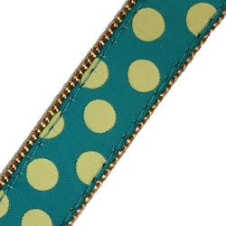 Up Country Teal Yellow Dot Collar- Prepunched Dog Collars