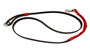 Black Leather Leash-Red Bungee