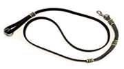 Black Leather Leash-Black and White Bungee